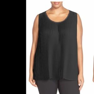 Melissa McCarthy studded front pleat tank black 1X